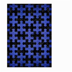 Puzzle1 Black Marble & Blue Brushed Metal Large Garden Flag (two Sides) by trendistuff