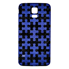 Puzzle1 Black Marble & Blue Brushed Metal Samsung Galaxy S5 Back Case (white) by trendistuff