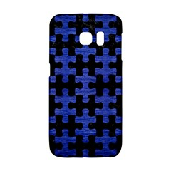 Puzzle1 Black Marble & Blue Brushed Metal Samsung Galaxy S6 Edge Hardshell Case by trendistuff