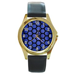 Hexagon2 Black Marble & Blue Brushed Metal (r) Round Gold Metal Watch by trendistuff