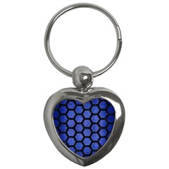 Hexagon2 Black Marble & Blue Brushed Metal (r) Key Chain (heart) by trendistuff