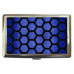 Hexagon2 Black Marble & Blue Brushed Metal (r) Cigarette Money Case by trendistuff