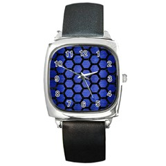 Hexagon2 Black Marble & Blue Brushed Metal (r) Square Metal Watch by trendistuff