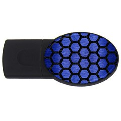 Hexagon2 Black Marble & Blue Brushed Metal (r) Usb Flash Drive Oval (4 Gb) by trendistuff