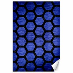 Hexagon2 Black Marble & Blue Brushed Metal (r) Canvas 24  X 36  by trendistuff