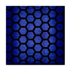 Hexagon2 Black Marble & Blue Brushed Metal (r) Face Towel by trendistuff