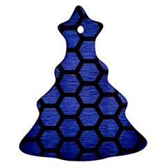 Hexagon2 Black Marble & Blue Brushed Metal (r) Ornament (christmas Tree)  by trendistuff