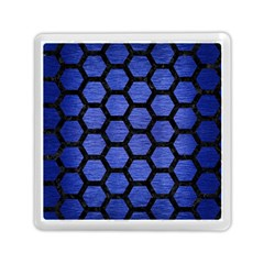 Hexagon2 Black Marble & Blue Brushed Metal (r) Memory Card Reader (square) by trendistuff