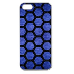 Hexagon2 Black Marble & Blue Brushed Metal (r) Apple Seamless Iphone 5 Case (clear) by trendistuff