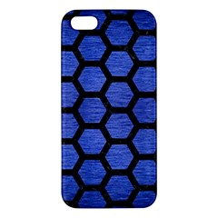 Hexagon2 Black Marble & Blue Brushed Metal (r) Apple Iphone 5 Premium Hardshell Case by trendistuff