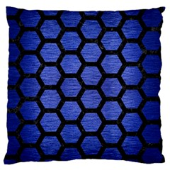 Hexagon2 Black Marble & Blue Brushed Metal (r) Large Flano Cushion Case (two Sides) by trendistuff