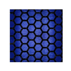 Hexagon2 Black Marble & Blue Brushed Metal (r) Small Satin Scarf (square) by trendistuff