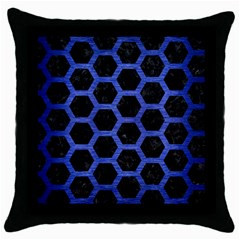 Hexagon2 Black Marble & Blue Brushed Metal Throw Pillow Case (black) by trendistuff