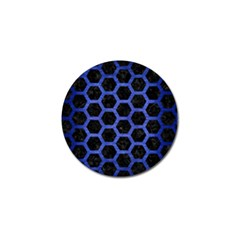 Hexagon2 Black Marble & Blue Brushed Metal Golf Ball Marker by trendistuff
