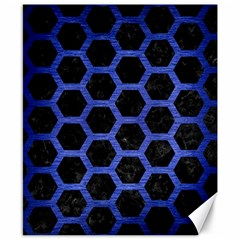 Hexagon2 Black Marble & Blue Brushed Metal Canvas 8  X 10  by trendistuff