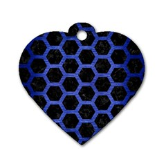 Hexagon2 Black Marble & Blue Brushed Metal Dog Tag Heart (one Side) by trendistuff