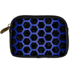 Hexagon2 Black Marble & Blue Brushed Metal Digital Camera Leather Case by trendistuff
