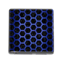 Hexagon2 Black Marble & Blue Brushed Metal Memory Card Reader (square) by trendistuff