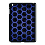 HEXAGON2 BLACK MARBLE & BLUE BRUSHED METAL Apple iPad Mini Case (Black) Front
