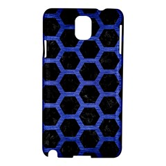 Hexagon2 Black Marble & Blue Brushed Metal Samsung Galaxy Note 3 N9005 Hardshell Case by trendistuff