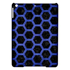 Hexagon2 Black Marble & Blue Brushed Metal Apple Ipad Air Hardshell Case by trendistuff