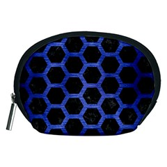 Hexagon2 Black Marble & Blue Brushed Metal Accessory Pouch (medium) by trendistuff