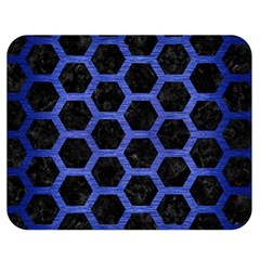 Hexagon2 Black Marble & Blue Brushed Metal Double Sided Flano Blanket (medium) by trendistuff