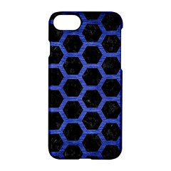 Hexagon2 Black Marble & Blue Brushed Metal Apple Iphone 7 Hardshell Case by trendistuff