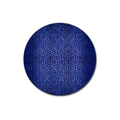 Hexagon1 Black Marble & Blue Brushed Metal (r) Magnet 3  (round) by trendistuff