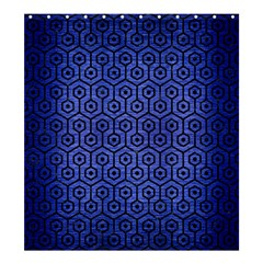 Hexagon1 Black Marble & Blue Brushed Metal (r) Shower Curtain 66  X 72  (large) by trendistuff