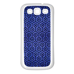 Hexagon1 Black Marble & Blue Brushed Metal (r) Samsung Galaxy S3 Back Case (white) by trendistuff