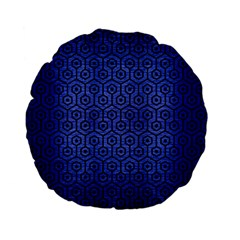 Hexagon1 Black Marble & Blue Brushed Metal (r) Standard 15  Premium Flano Round Cushion