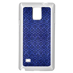 Hexagon1 Black Marble & Blue Brushed Metal (r) Samsung Galaxy Note 4 Case (white) by trendistuff