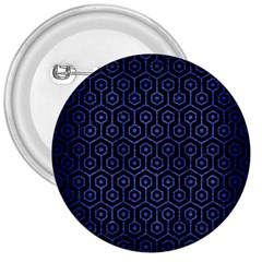 Hexagon1 Black Marble & Blue Brushed Metal 3  Button by trendistuff