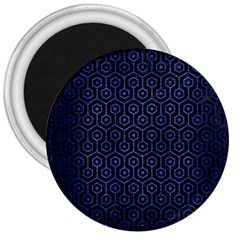 Hexagon1 Black Marble & Blue Brushed Metal 3  Magnet by trendistuff