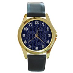 Hexagon1 Black Marble & Blue Brushed Metal Round Gold Metal Watch by trendistuff
