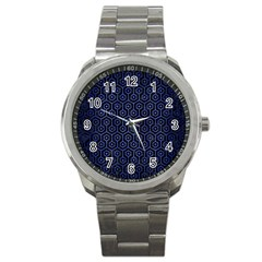 Hexagon1 Black Marble & Blue Brushed Metal Sport Metal Watch by trendistuff