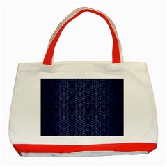 Hexagon1 Black Marble & Blue Brushed Metal Classic Tote Bag (red) by trendistuff