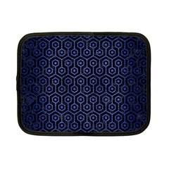 Hexagon1 Black Marble & Blue Brushed Metal Netbook Case (small) by trendistuff