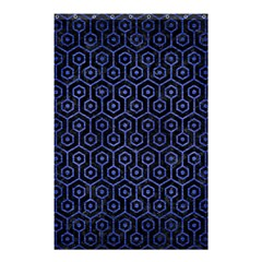 Hexagon1 Black Marble & Blue Brushed Metal Shower Curtain 48  X 72  (small) by trendistuff