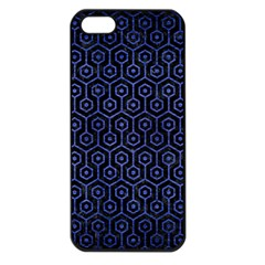 Hexagon1 Black Marble & Blue Brushed Metal Apple Iphone 5 Seamless Case (black) by trendistuff
