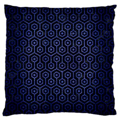 Hexagon1 Black Marble & Blue Brushed Metal Standard Flano Cushion Case (one Side) by trendistuff