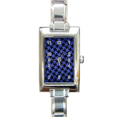 Houndstooth2 Black Marble & Blue Brushed Metal Rectangle Italian Charm Watch by trendistuff