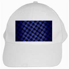 Houndstooth2 Black Marble & Blue Brushed Metal White Cap by trendistuff