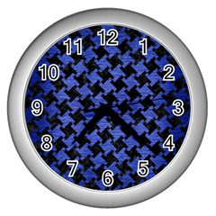 Houndstooth2 Black Marble & Blue Brushed Metal Wall Clock (silver) by trendistuff