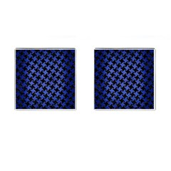 Houndstooth2 Black Marble & Blue Brushed Metal Cufflinks (square) by trendistuff