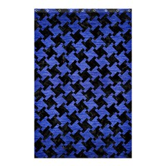 Houndstooth2 Black Marble & Blue Brushed Metal Shower Curtain 48  X 72  (small) by trendistuff