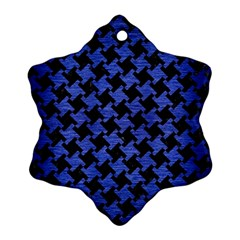 Houndstooth2 Black Marble & Blue Brushed Metal Snowflake Ornament (two Sides) by trendistuff