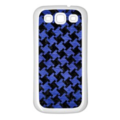 Houndstooth2 Black Marble & Blue Brushed Metal Samsung Galaxy S3 Back Case (white) by trendistuff