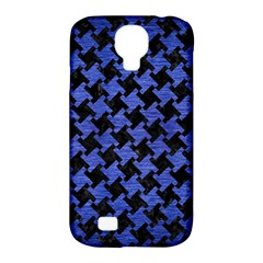 Houndstooth2 Black Marble & Blue Brushed Metal Samsung Galaxy S4 Classic Hardshell Case (pc+silicone) by trendistuff